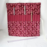 knitting needle roll or tunisian crochet hook holder, burgundy