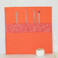 knitting needle roll or tunisian crochet hook holder, peach