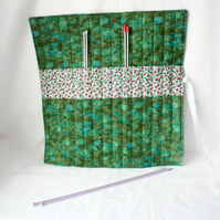 knitting needle roll or tunisian crochet hook holder, green