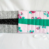 quilted crochet hook storage roll, this listing is for the pink and green one