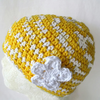 yellow and white crocheted cotton chemo hat or hair loss cap from alopecia