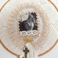 cottage chic vintage style mixed media lady hoop art wall hanging