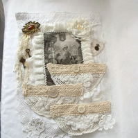 cottage chic vintage style mixed media wall hanging storage pockets