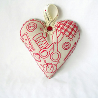 red work embroidered plush heart wall hanging