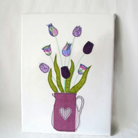 unusual summery purple tulips applique wall hanging, 12 x 16