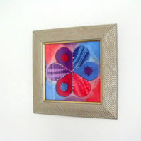 unique hand dyed blue, purple and red embroidered framed wall art