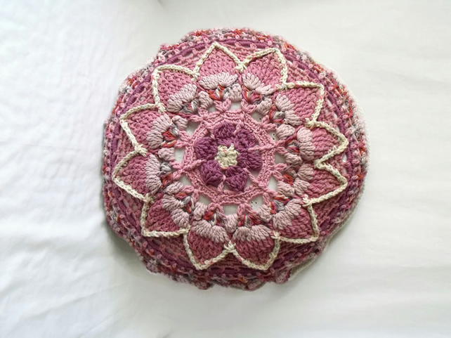 dusky pink and cream crocheted mandala scatter cushion