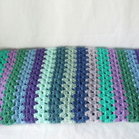 green and lilac granny striped blanket, 42 x 46 inches