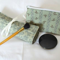 sage green make up gift set, toiletry bag and make up brush holder
