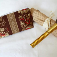 brown and beige floral make up gift set, toiletry bag and make up brush holder