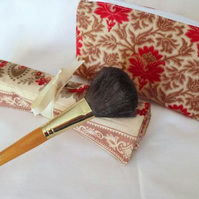 red and beige floral make up gift set, toiletry bag and make up brush holder