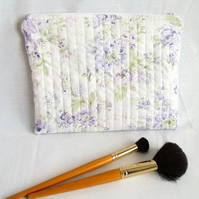 lilac rose print zipped make up pouch, pencil case or crochet hook case