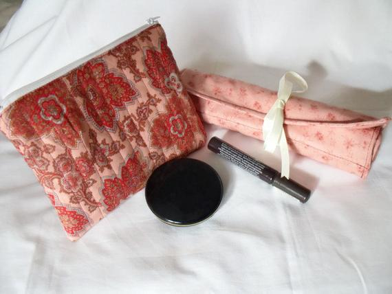 leaf print pink make up gift set, toiletry bag and make up brush holder