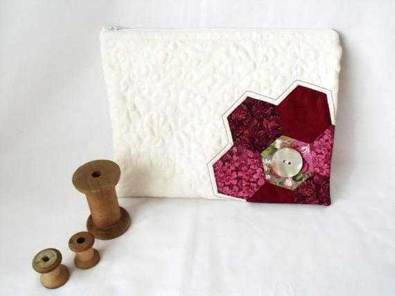 cream patchwork zipped make up pouch, pencil case or crochet hook case