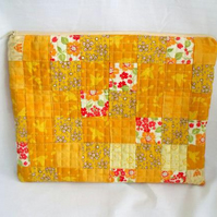 gold patchwork zipped make up pouch, pencil case or crochet hook case