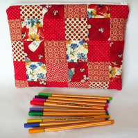 red patchwork zipped make up pouch, pencil case or crochet hook case