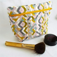 grey and yellow geometric zipped make up pouch, pencil case or crochet hook case