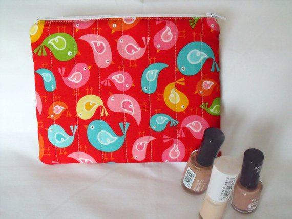 red bird print zipped make up pouch, pencil case or crochet hook case