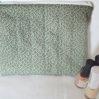 green ditsy print zipped make up pouch, pencil case or crochet hook case
