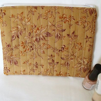 tan ditsy print zipped make up pouch, pencil case or crochet hook case