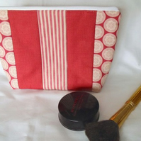 dark red striped zipped make up pouch, pencil case or crochet hook case