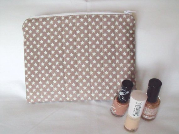 light brown star print zipped make up pouch, pencil case or crochet hook case