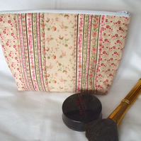 pink Tilda floral zipped make up pouch, pencil case or crochet hook case