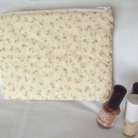cream floral print zipped make up pouch, pencil case or crochet hook case