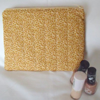 gold floral print zipped make up pouch, pencil case or crochet hook case