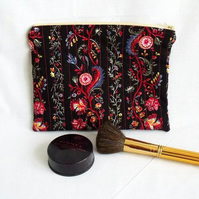 black floral zipped make up pouch, pencil case or crochet hook case
