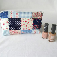 faux patchwork zipped make up pouch, pencil case or crochet hook holder