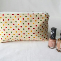 polka dot zipped make up pouch, pencil case or crochet hook holder