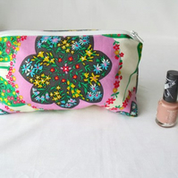 floral zipped make up pouch, pencil case or crochet hook holder