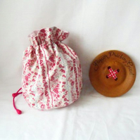pink floral drawstring make up pouch or small project bag