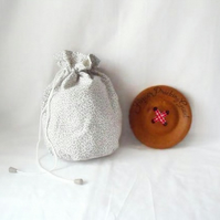 grey floral drawstring make up pouch or small project bag