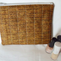 tan and gold zipped make up pouch, pencil case or crochet hook case