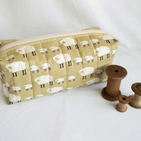 sheep zipped boxy make up pouch, pencil case or crochet hook case