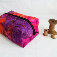 pink and purple zipped boxy make up pouch, pencil case or crochet hook case
