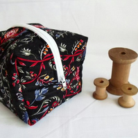 black floral zipped boxy make up pouch, pencil case or crochet hook case