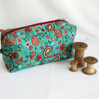 turquouise zipped boxy make up pouch, pencil case or crochet hook case