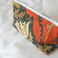 william morris zipped make up pouch, pencil case or crochet hook holder