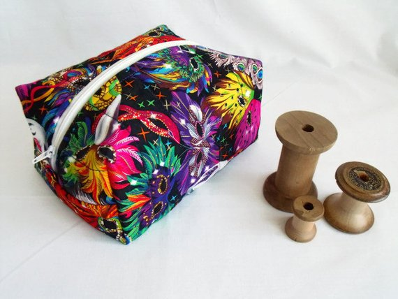 multicoloured zipped boxy make up pouch, pencil case or crochet hook case