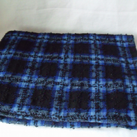 tartan skirt length of fabric and zip in blue and black, 39 x 59 inches
