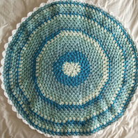 round turquoise crocheted granny baby blanket or throw, 3 ft