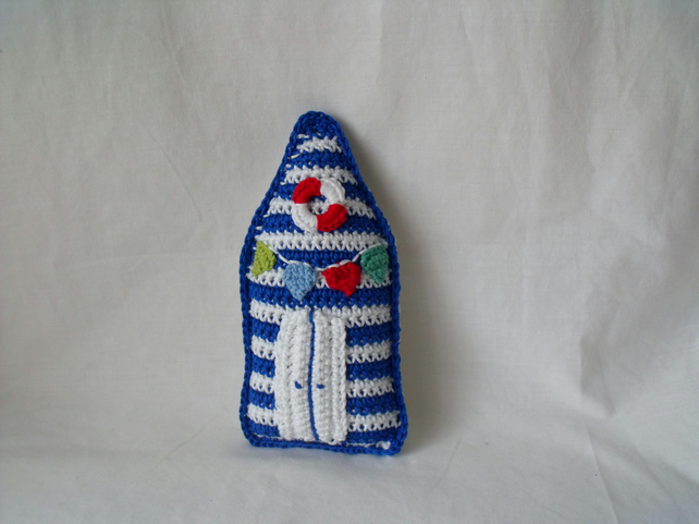 cute crocheted cotton beach hut ornament