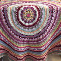 round multi coloured crocheted blanket or throw, 4ft 5 inches