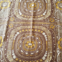 vintage 1970s brown cotton fabric, retro
