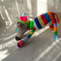 cute crocheted multi coloured greyhound dog, lurcher