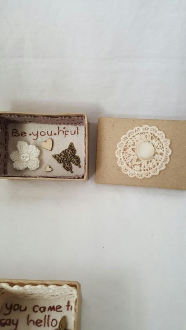 small miniature art diorama with a message 'be-you-tiful'
