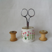 embroidered scissor holder on an old wooden bobbin for your craft room